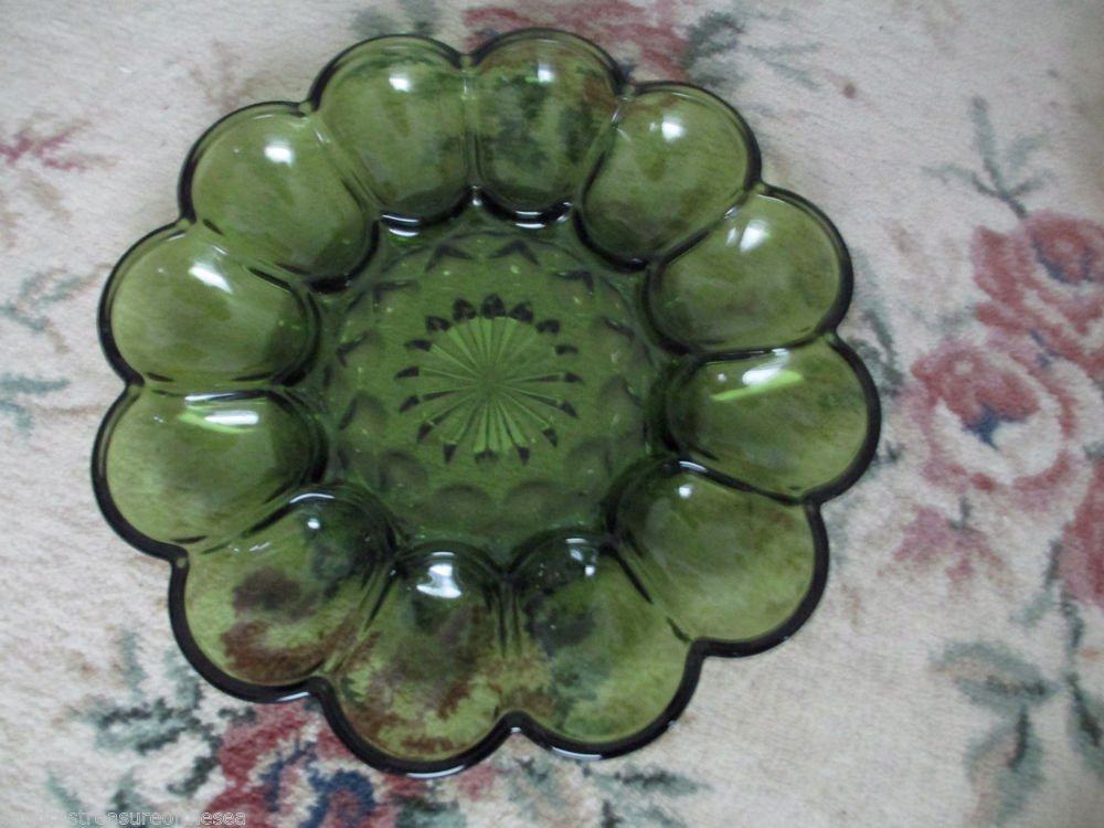 Anchor Hocking Green Field Pattern Deviled Egg Plate Relish Tray Oyster Platter