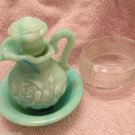 Vintage Avon Glass Dish Floral Band and Jadeite Slag Pitcher Set 1970s Indiana