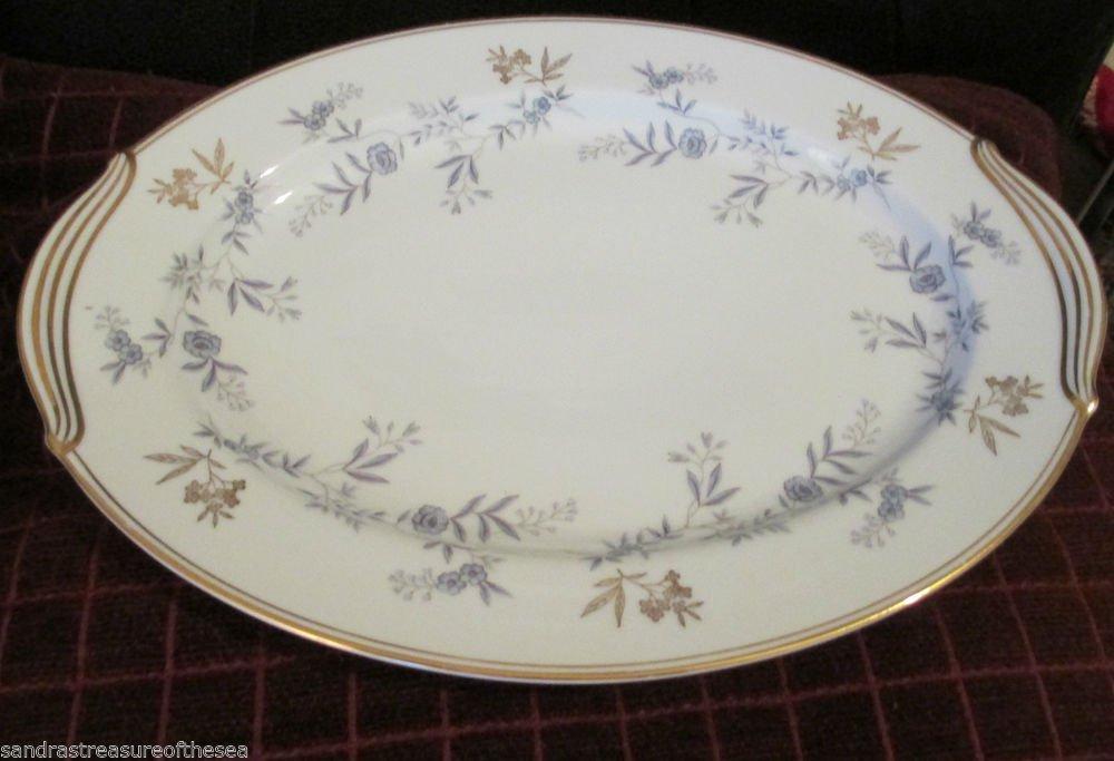 Noritake China Waverly Pattern Oval Platter Japan Serving Dish Gold Trim 5915