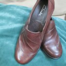CLARKS 6 M Brown Leather Slip on Low Heel Shoe With Distinctive Stitching Design