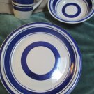 Three Pieces Royal Norfolk Blue Striped Stoneware Dinner Plate Bowl Coffee Mug