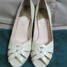 Cole Haan Nike Air Patent Leather Pale Yellow Pump 7 12/M Woven Finish Heel