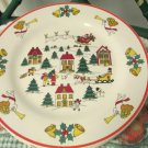Four James Town The Joy of Christmas Stoneware Dinner Plates Angels Santa Bells
