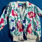 Vintage 80s  Silky  WhiteTurquoiseTeal Floral Jacket