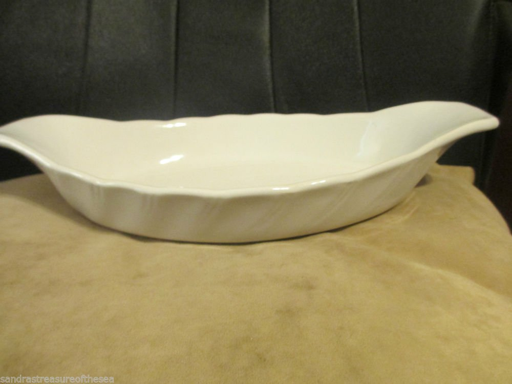 Vintage Himark White Basics Au Gratin Dish Scalloped Edge Made in Japan