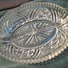 Anchor Hocking Stars & Bars Cut Crystal Glass Handled Divided Relish Dish