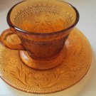 Four  Tiara Indiana Amber Sandwich Glass Cup and Saucer Set 1970 to 80s