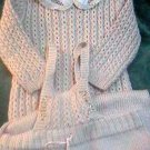 Vintage Hand Made Knitted Baby Outfit Beige Neutral Top Bottoms