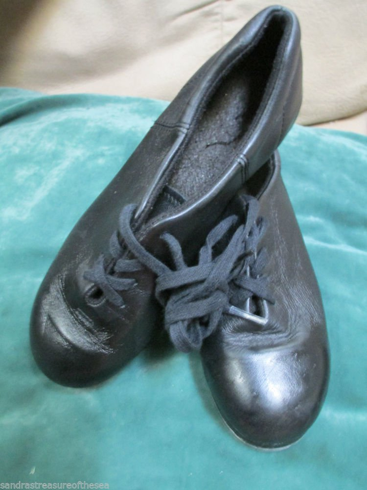 Girls Capezio Black Leather Tap Jazz Soft Dance Shoes Group Dance Class 4.5 M