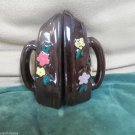 Vintage Brown Salt and Pepper Set Shaped Like Clothes Irons with Floral Accent