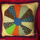 Crochet Bedroom Throw Pillow Appliqued Quilt Piece Flower Handmade Country Chic