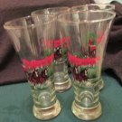Budwiser Clydesdales Pilsner Glasses 1991 Holiday Anheuser Bush Official Product