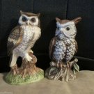 Vintage Horned Owls Norleans Ceramic Owl Figurine Japan and Ardco Owl Taiwan