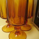 Three Heavy Amber Topaz Eight Panel Footed Juice Glasses 1960s 6 Oz Glasses