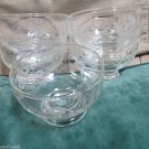 Five Dessert Fruit Bowls Cups Elegant Etched Sunflower Design Crystal Tableware