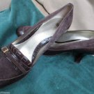 Carole Little Pumps Shoes Brown Suede Trim W Buckle Leather Croco Print 9 M
