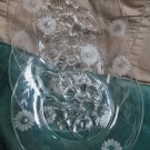 Four Elegant Etched Sunflower Design Crystal Luncheon Plates W Inverted Flower
