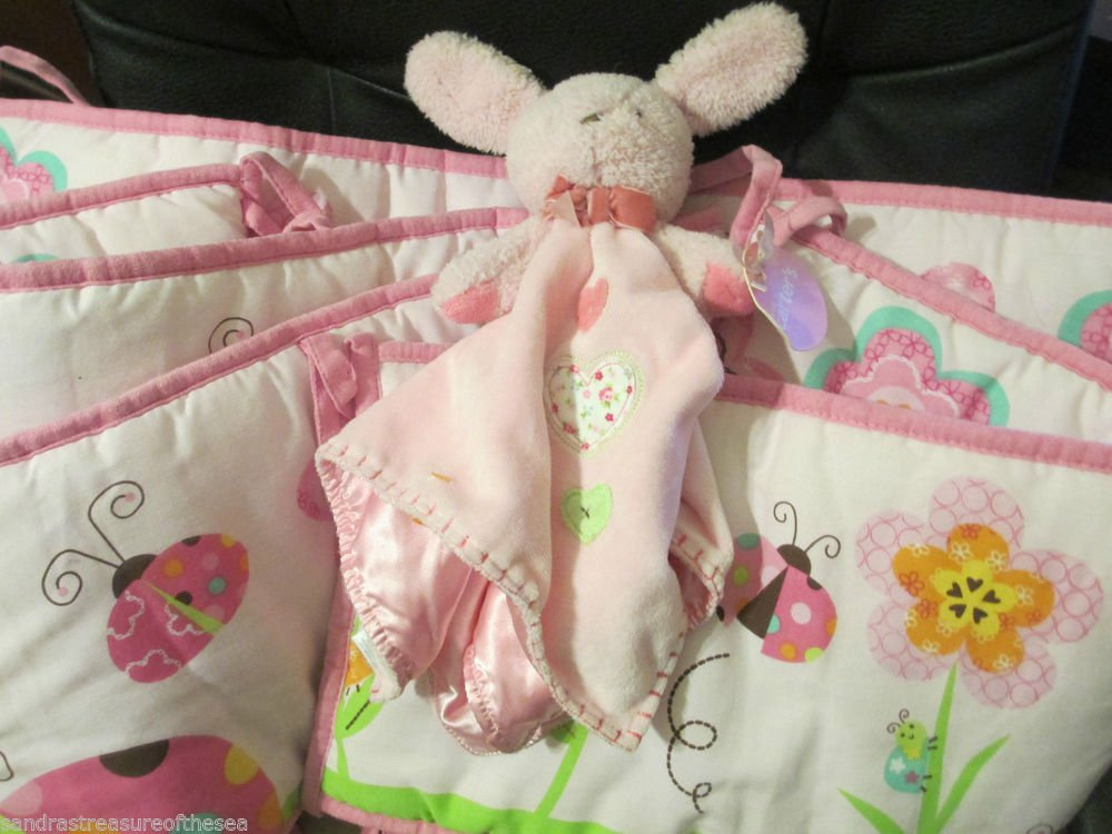 Four Piece Pink Lady Bug Garden Crib Bumper Floral So Cute Pink W Bunny Security