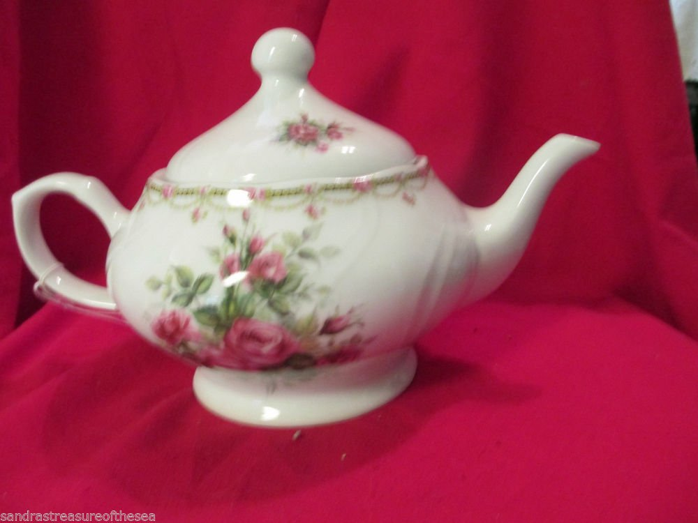 Large Liette International Hand Painted  Porcelain Teapot Made in USA