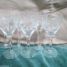 Six Aperitif Cordial Elegant Stemmed Etched Sunflower Design Crystal Glasses Bar