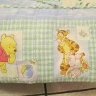 Disney Winnie the Pooh and Friends Honey Pot Crib Bumper Blues with Green Plaid