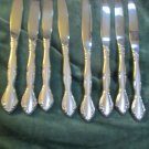 Vintage Eight Knives Oneida Stainless Steel Flatware USA Elegant Pattern