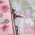 Child Of Mine Crib Set Bumper Quilt Skirt Standard Crib Butterflies Flowers