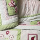 Lady Bug 5 Pc Kids Line Girls Nursery Crib Set Appliqued Pastel Minky Pink Green