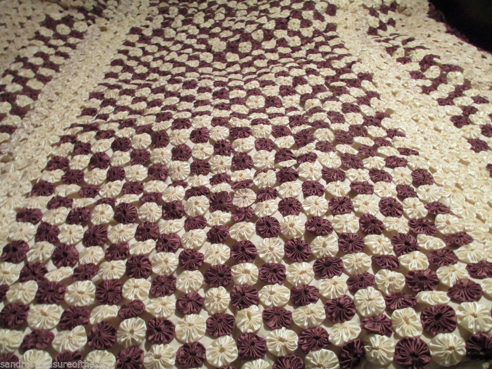 Vintage Large Brown Beige Cream Satin YoYo  Quilt Topper Coverlet 1950s-60s