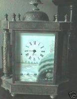 Vintage Brass Mantel Clock With Collums Beautiful Ceramics M D Ger Ornate