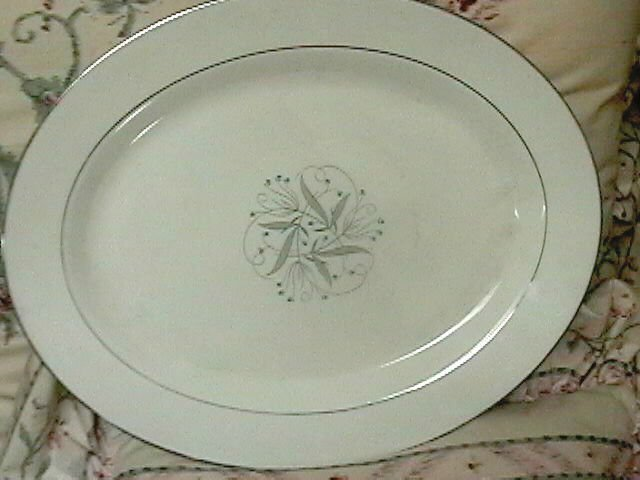 Japan Large Oval Serving Platter Silver Floral Pattern with Berries 13 3/4 X 11