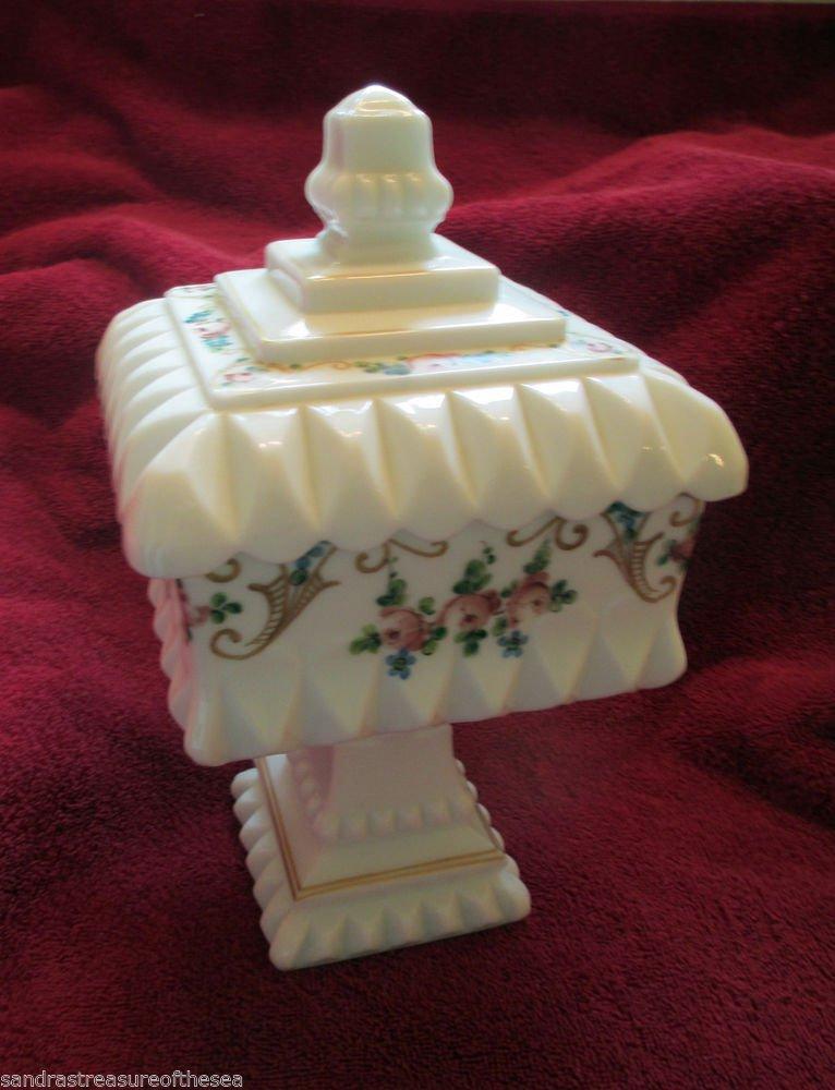 Vintage Westmoreland Hand Painted Milk Glass Wedding Bowl