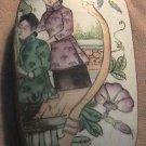 Vintage Chinese Tibetan Handmade Silver Shard Box Antique Ceramic Top Casket