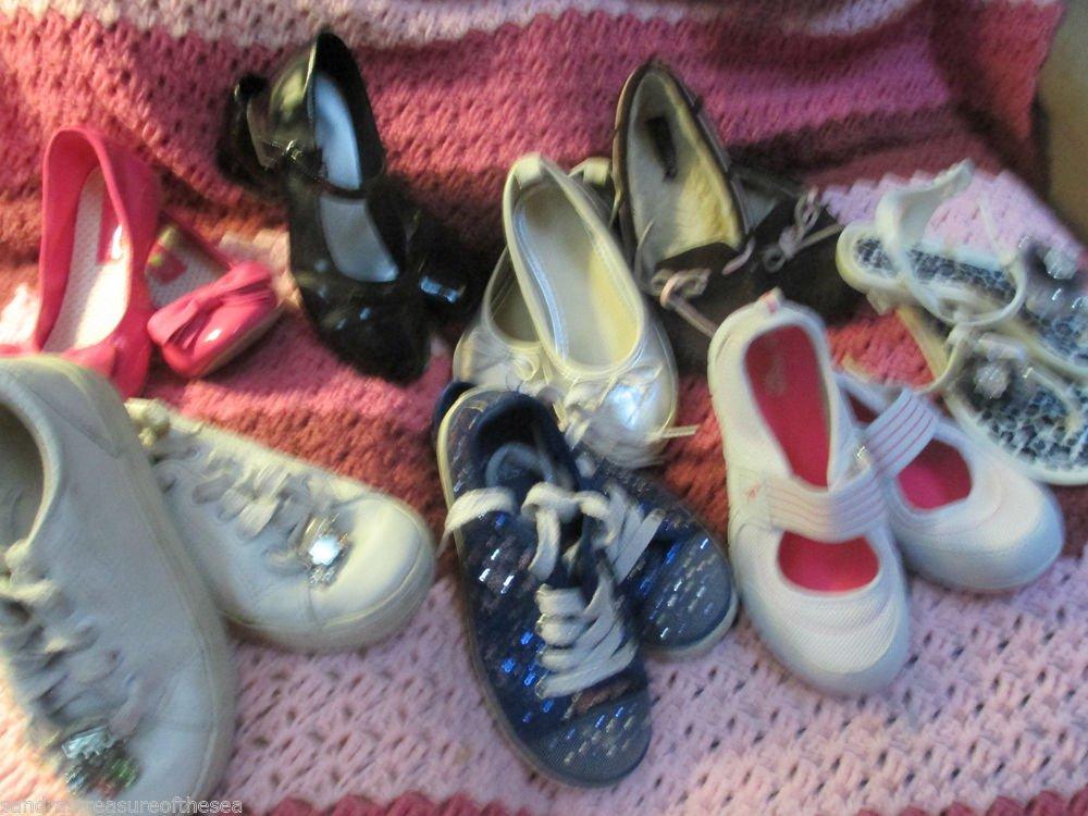Nine Prs Girls Casual Dress Shoes 12 to 1 Sandals Athletic Paris Blue SO Wear It