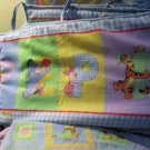 Disney Winnie the Pooh and Friends Crib Quilt Comforter Each Holding Name Letter