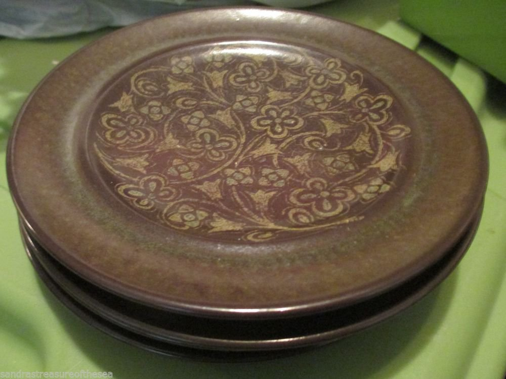 Four Vintage Franciscan Madeira Bread and Butter Plates Earthenware Tan Flowers