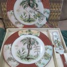 I Godinger Porcelain Cake Pie Plate W Server Tropical Splendor 9613 In Box