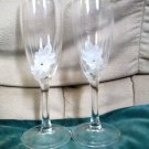 Lillian Rose Etched Raised Floral Crystal Toasting Glasses Flutes Original Box
