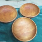Three Mid Century Woodpecker  Woodware Individual Salad Bowls Vintage Made Japan