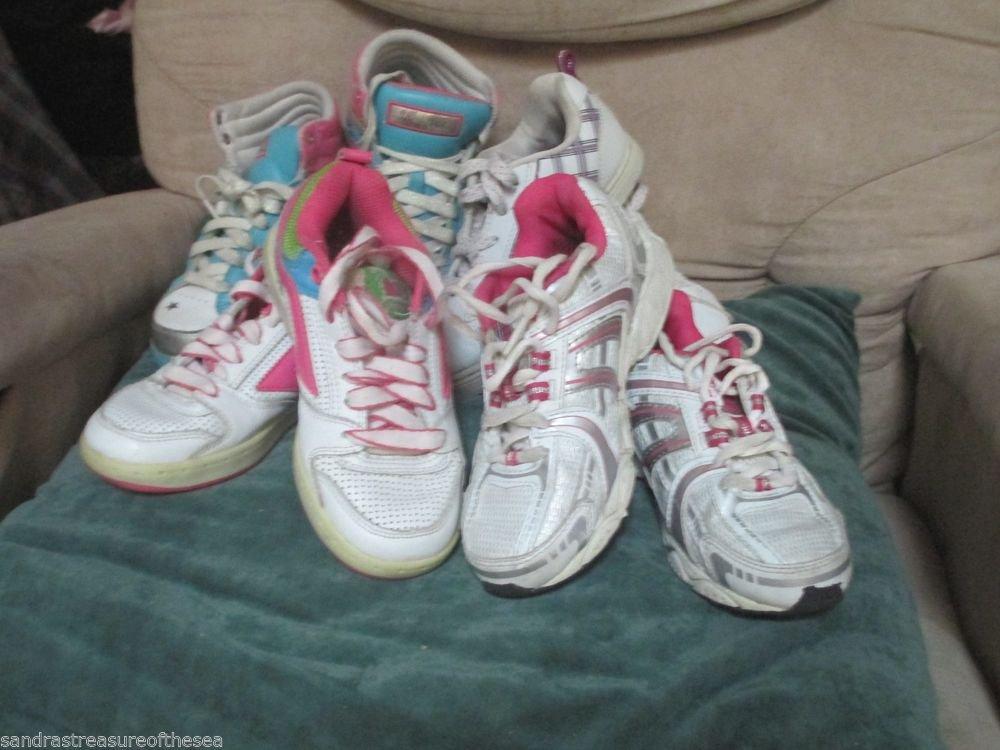 4 Pr Girls Athletic Tennis Shoes High Top Sketchers OP Air Speed Target Sz  13 f32280954