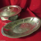 Vintage Three Piece Aluminum Serving Dish Bowl with Lid and Bread Tray Floral