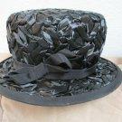 Ladies Vintage Black Straw Hat Stylish Narrow Brim Ribbon Movie Star Vogue