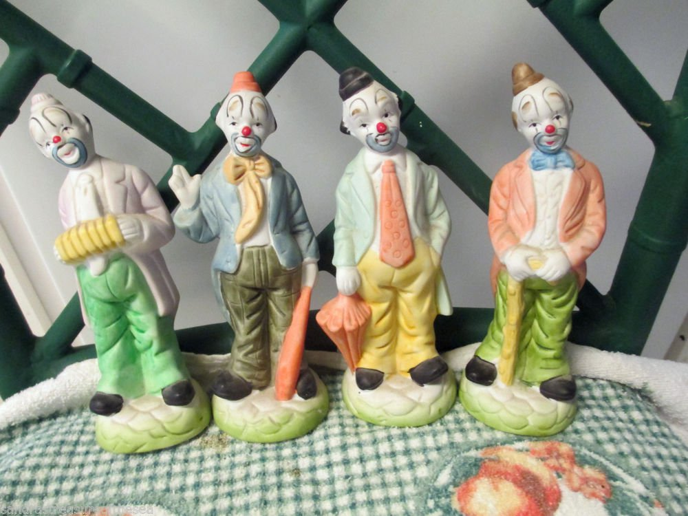 Set of Four Vintage Clowns Bisque Porcelain Figurines Made in Taiwan Sticker