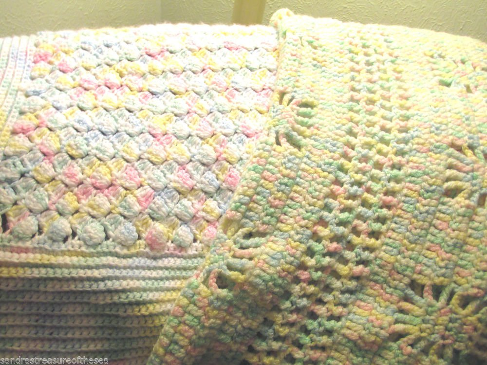 Two Vintage Beautiful Multi Color Hand Knit Baby Crib Stroller Blankets Afghans