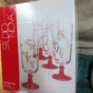 Studio Nova Holly Berry Red Christmas Handpainted Iced Beverage Four Pc Set MIB