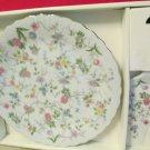 Andrea by Sadek Corona Gold Trim Cake Pie Plate W Server Set Japan Porcelain NIB