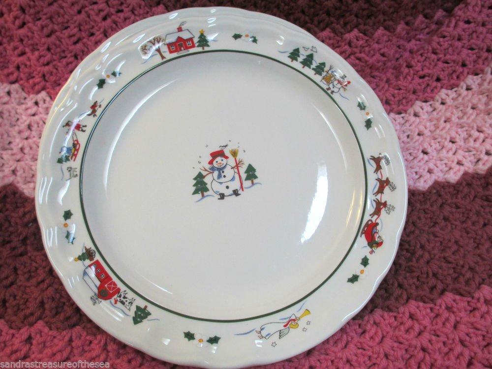 Lot Four Pfaltzgraff Snow Village Dinner Plates Dinnerware Snowman Santa Design