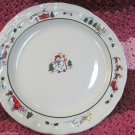 Lot Four Pfaltzgraff Snow Village Dinner Plates Dinnerware Snowman Santa Design