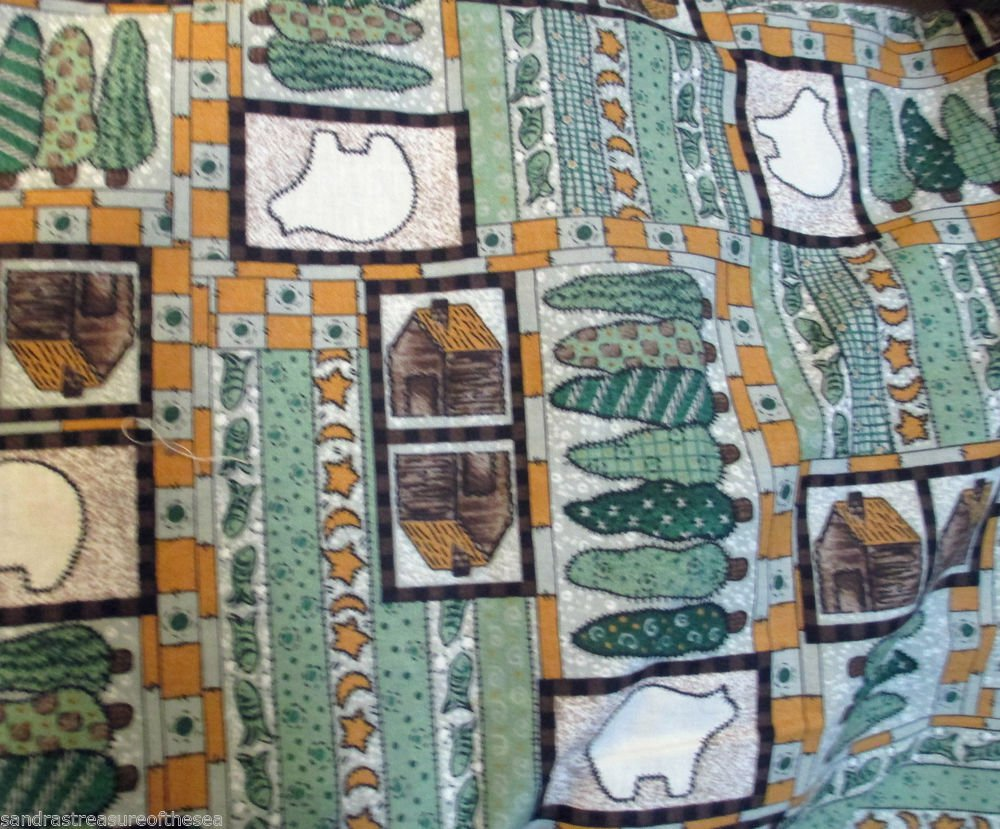 Quilt Decorator Fabric Print Bear Cabin Trees Crafting Two Yards Plus Two FREE