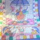 Handcrafted Finished Mother Goose Baby Quilt Panel Reversible